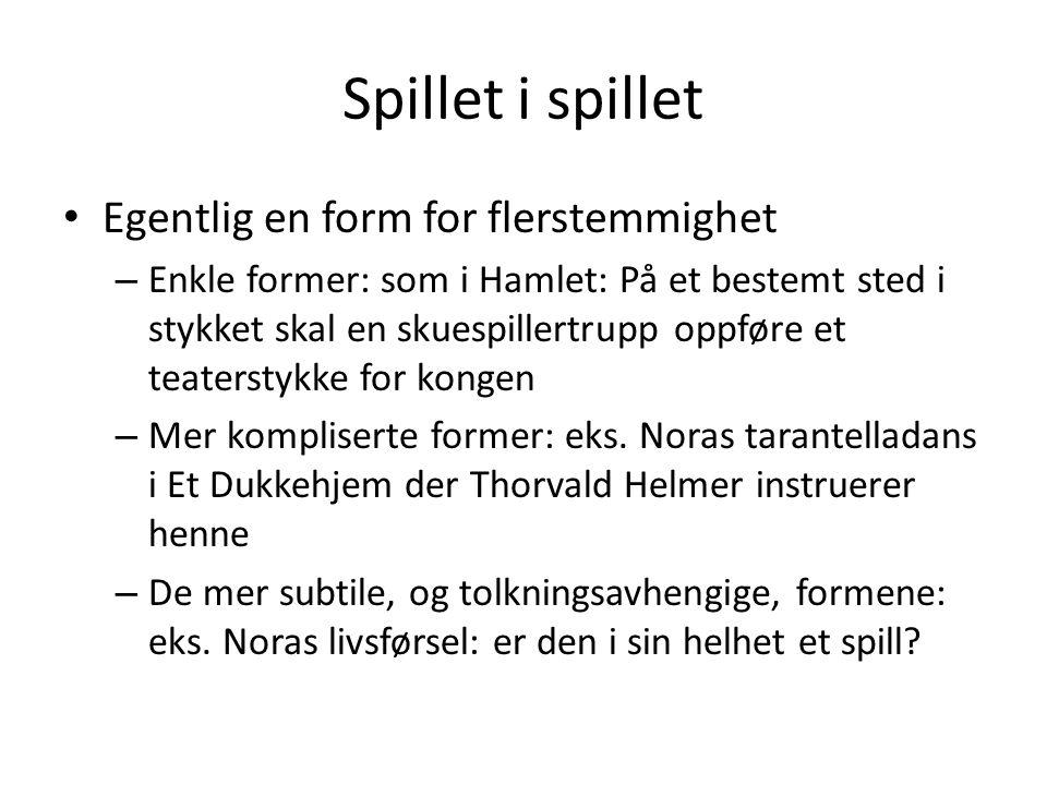 Spillet i spillet Egentlig en form for flerstemmighet – Enkle former: som i Hamlet: På et bestemt sted i stykket skal en skuespillertrupp oppføre et t