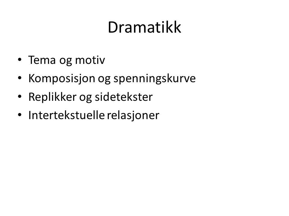 Dramatikk Tema og motiv Komposisjon og spenningskurve Replikker og sidetekster Intertekstuelle relasjoner