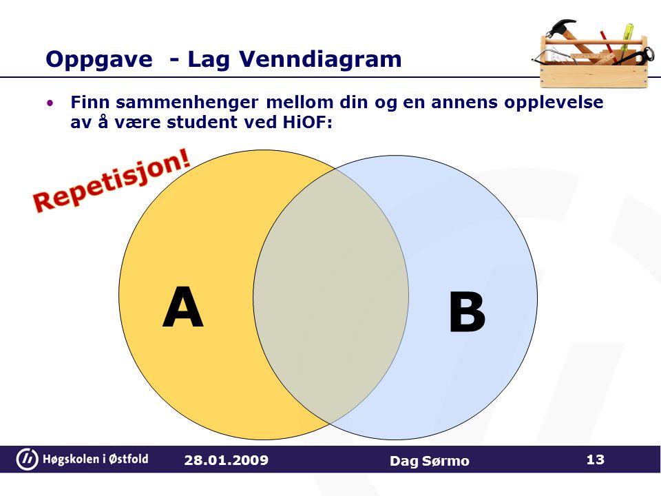 Oppgave - Lag Venndiagram Finn sammenhenger mellom din og en annens opplevelse av å være student ved HiOF: A B 28.01.2009 13 Dag Sørmo