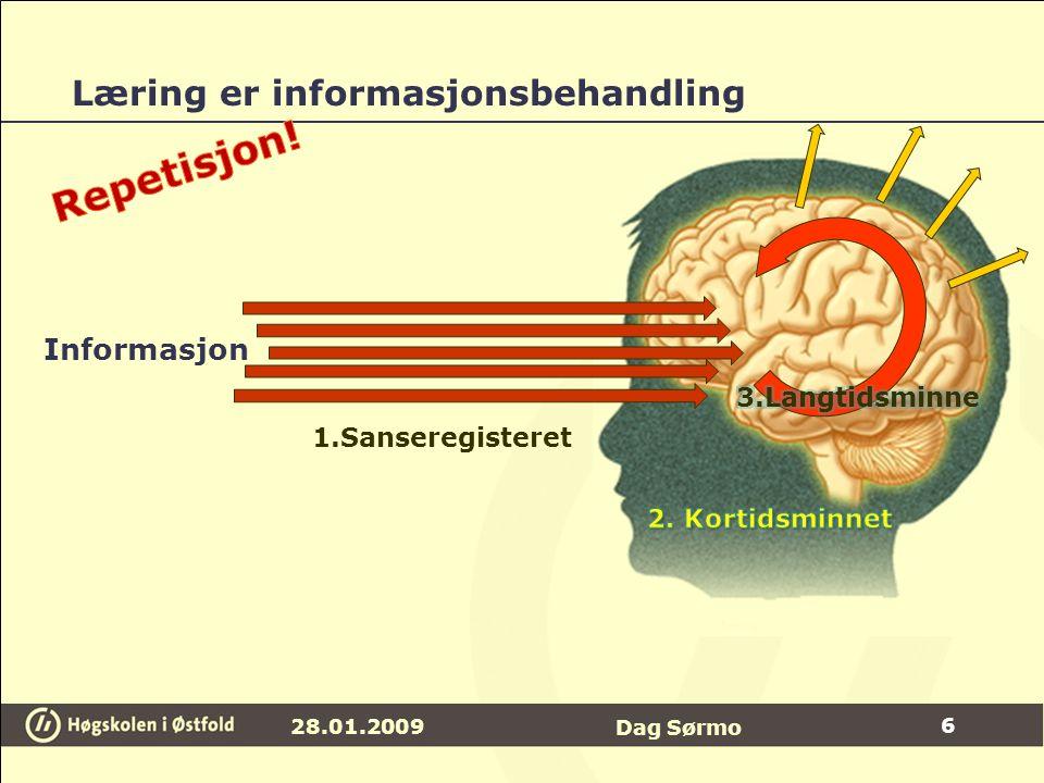 Læring er informasjonsbehandling 28.01.2009 Dag Sørmo Informasjon 1.Sanseregisteret 6