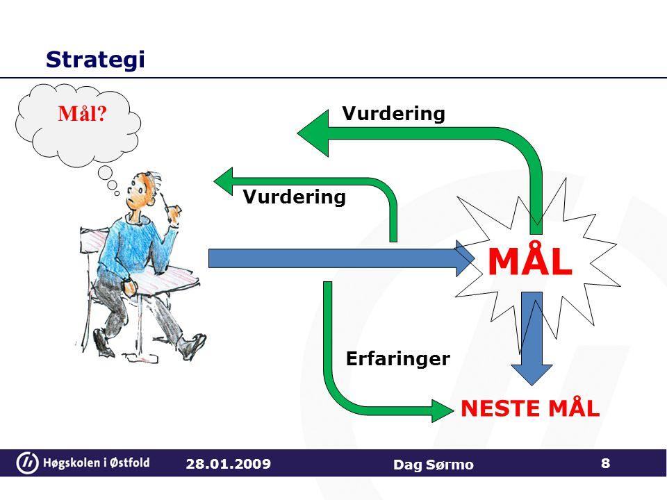 Strategi 28.01.2009 Dag Sørmo 8 MÅL Vurdering NESTE MÅL Erfaringer Mål?