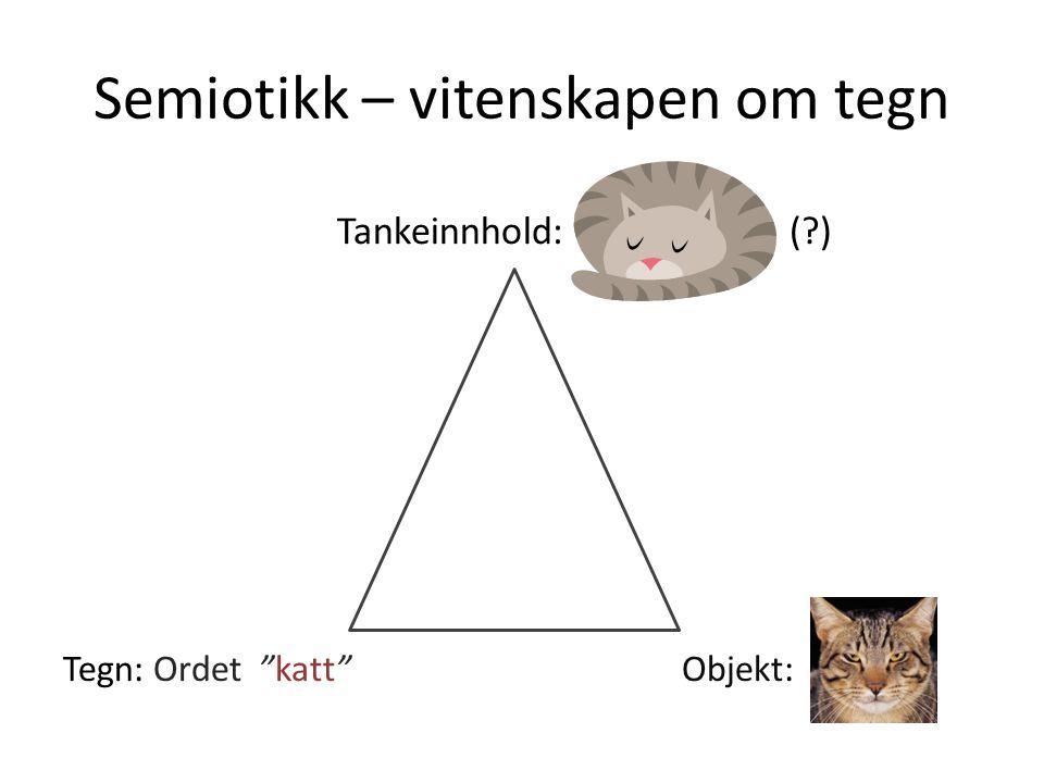 """Semiotikk – vitenskapen om tegn Tankeinnhold: (?) Tegn: Ordet """"katt"""" Objekt:"""