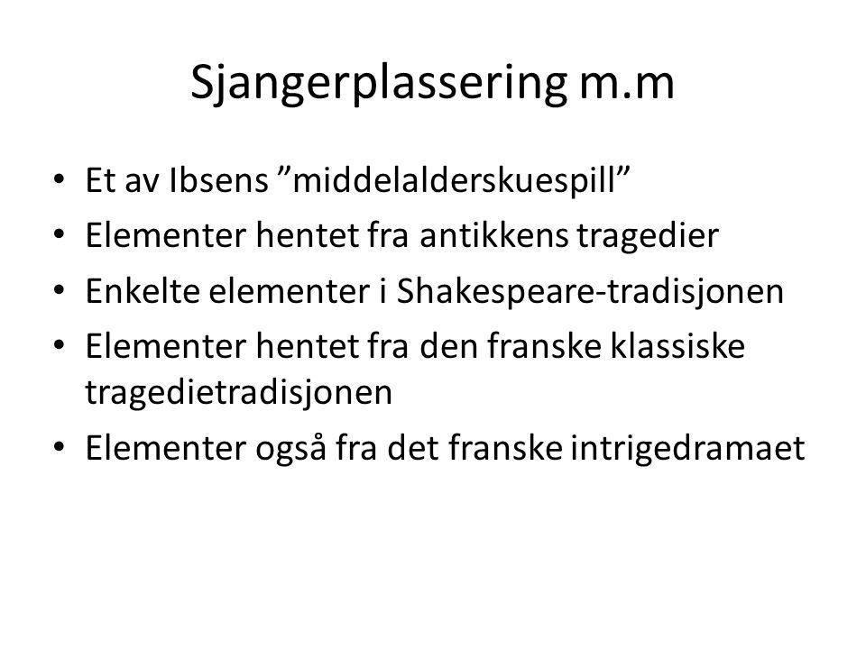 """Sjangerplassering m.m Et av Ibsens """"middelalderskuespill"""" Elementer hentet fra antikkens tragedier Enkelte elementer i Shakespeare-tradisjonen Element"""
