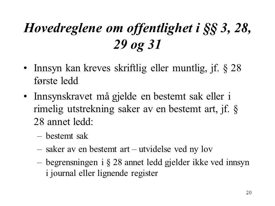 20 Hovedreglene om offentlighet i §§ 3, 28, 29 og 31 Innsyn kan kreves skriftlig eller muntlig, jf.