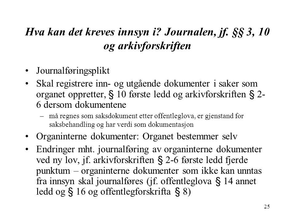 25 Hva kan det kreves innsyn i.Journalen, jf.