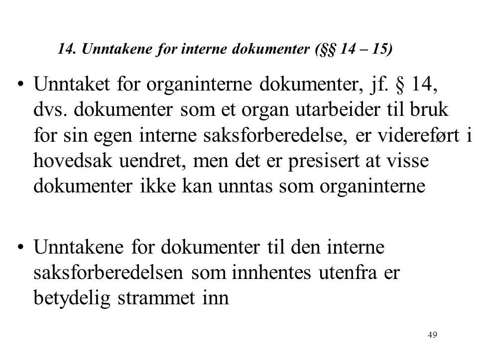 49 14.Unntakene for interne dokumenter (§§ 14 – 15) Unntaket for organinterne dokumenter, jf.