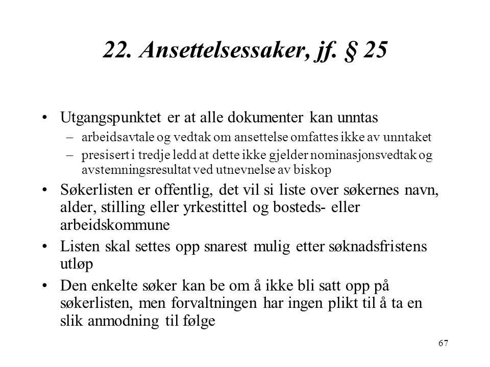 67 22.Ansettelsessaker, jf.