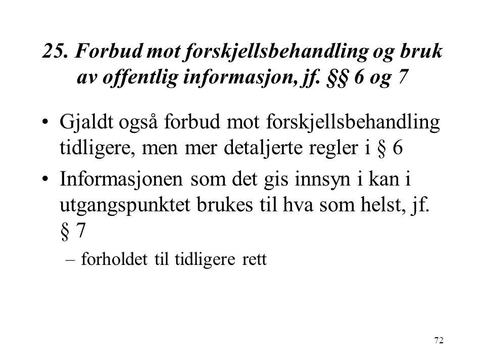 72 25.Forbud mot forskjellsbehandling og bruk av offentlig informasjon, jf.