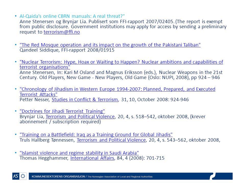 Al-Qaida's online CBRN manuals: A real threat?