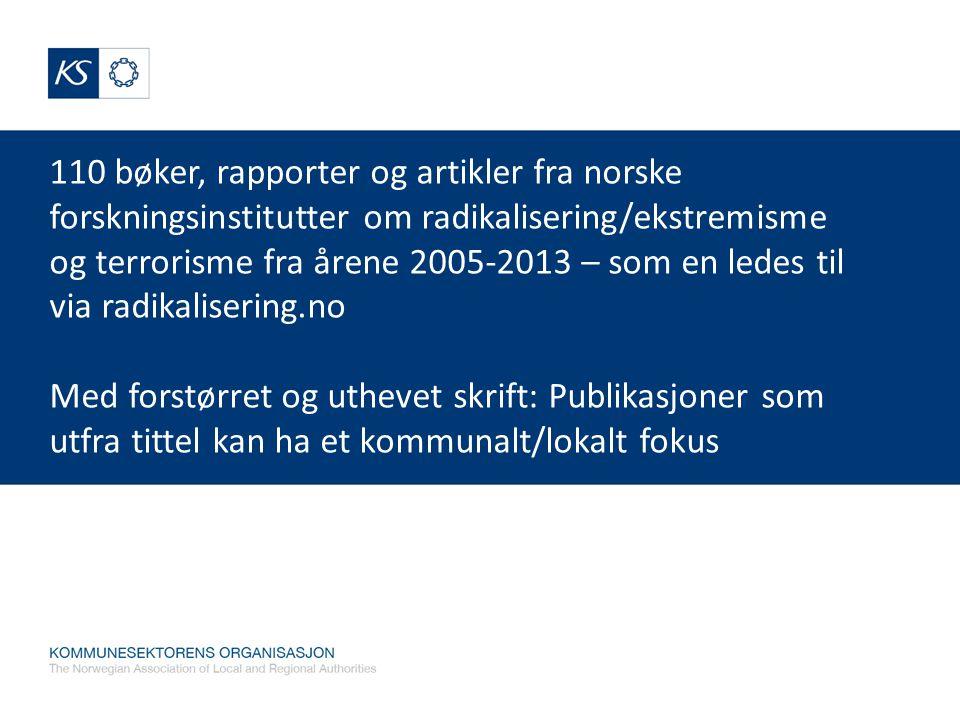 110 bøker, rapporter og artikler fra norske forskningsinstitutter om radikalisering/ekstremisme og terrorisme fra årene 2005-2013 – som en ledes til v