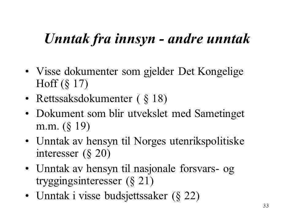 33 Unntak fra innsyn - andre unntak Visse dokumenter som gjelder Det Kongelige Hoff (§ 17) Rettssaksdokumenter ( § 18) Dokument som blir utvekslet med Sametinget m.m.