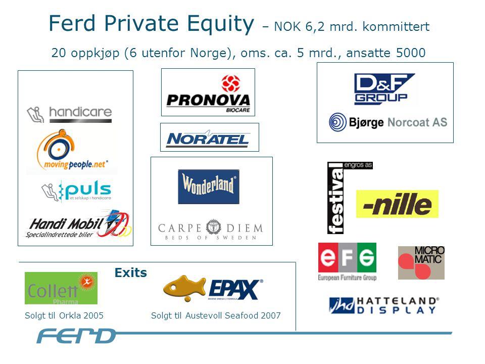 Ferd Private Equity – NOK 6,2 mrd. kommittert 20 oppkjøp (6 utenfor Norge), oms.