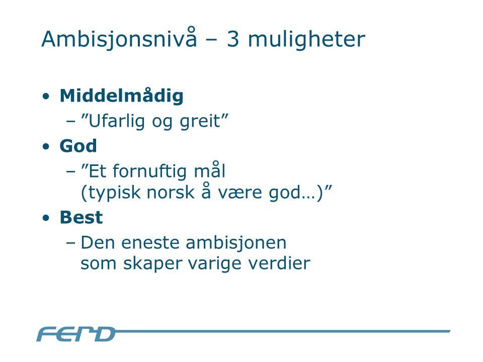 Ambisjonsnivå – 3 muligheter Middelmådig – Ufarlig og greit God – Et fornuftig mål (typisk norsk å være god…) Best –Den eneste ambisjonen som skaper varige verdier