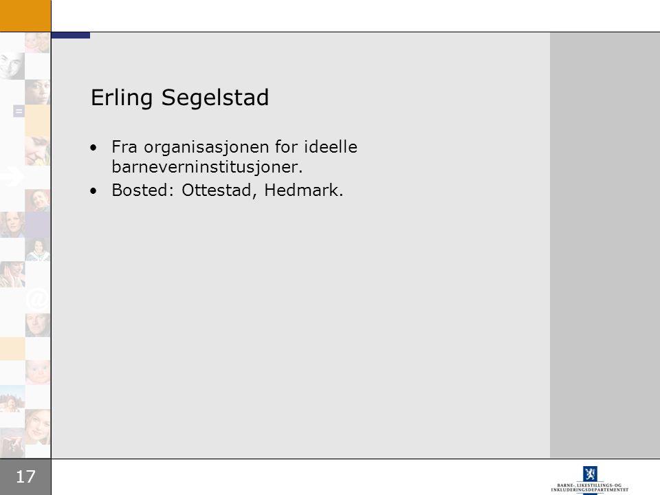 17 Erling Segelstad Fra organisasjonen for ideelle barneverninstitusjoner. Bosted: Ottestad, Hedmark.