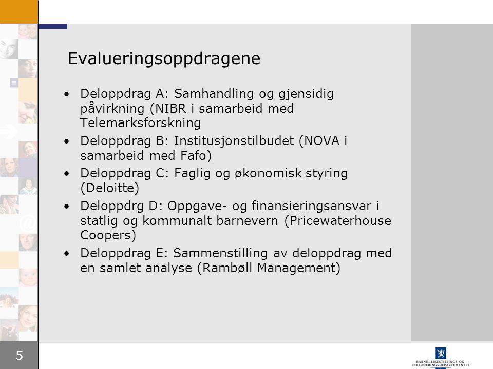 5 Evalueringsoppdragene Deloppdrag A: Samhandling og gjensidig påvirkning (NIBR i samarbeid med Telemarksforskning Deloppdrag B: Institusjonstilbudet