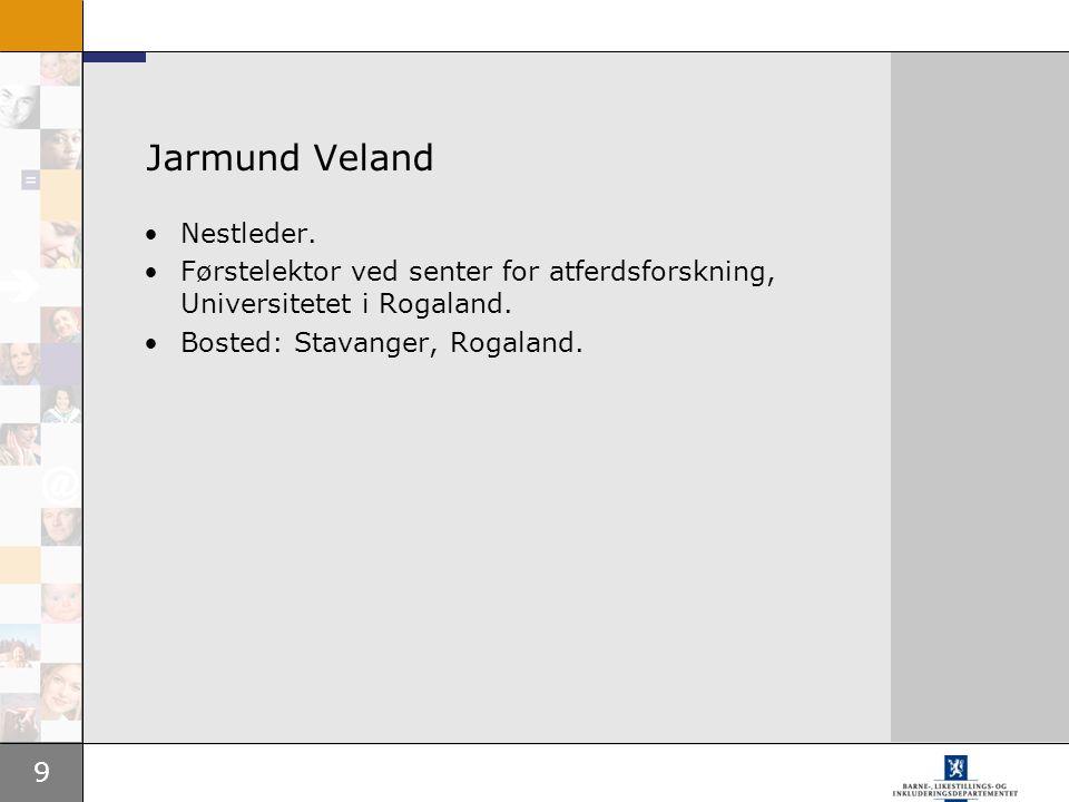 9 Jarmund Veland Nestleder. Førstelektor ved senter for atferdsforskning, Universitetet i Rogaland. Bosted: Stavanger, Rogaland.