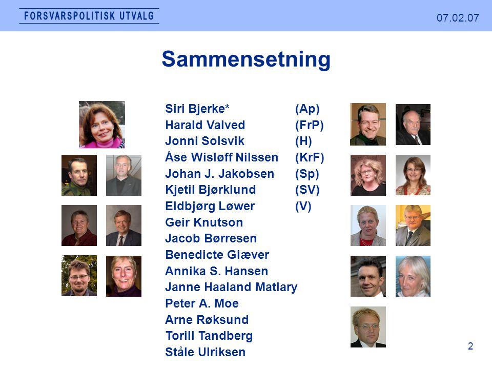 07.02.07 2 Sammensetning Siri Bjerke*(Ap) Harald Valved (FrP) Jonni Solsvik (H) Åse Wisløff Nilssen(KrF) Johan J.