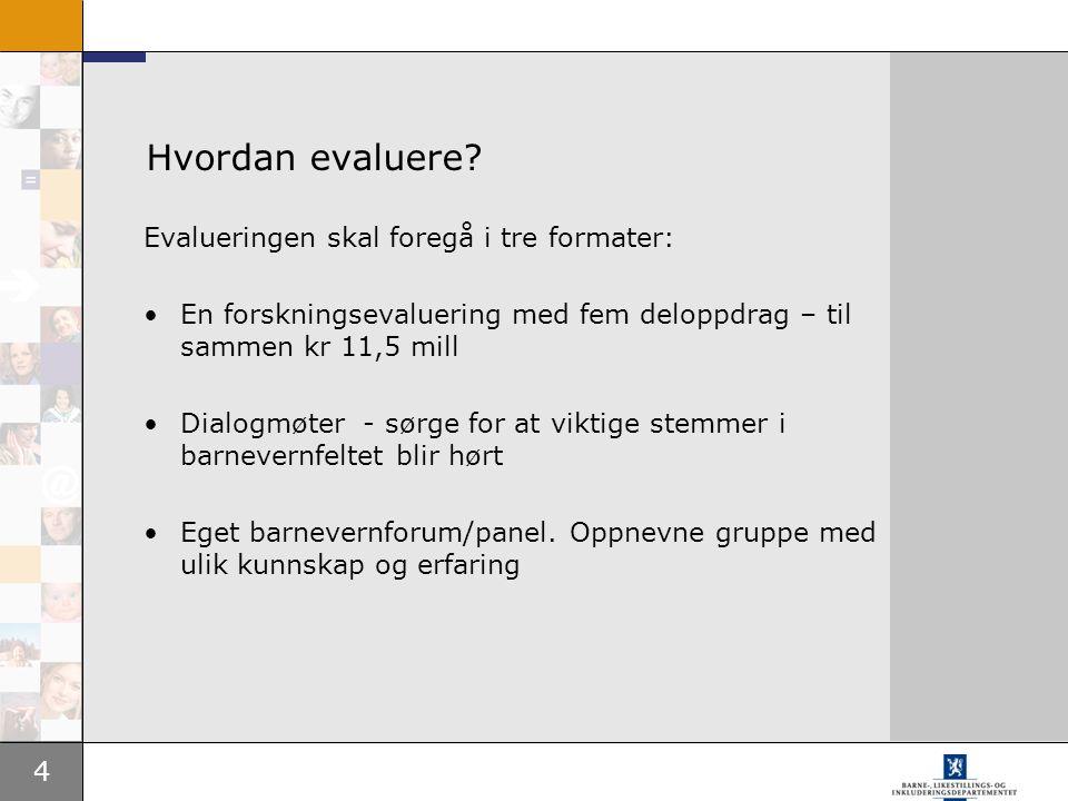 4 Hvordan evaluere? Evalueringen skal foregå i tre formater: En forskningsevaluering med fem deloppdrag – til sammen kr 11,5 mill Dialogmøter - sørge