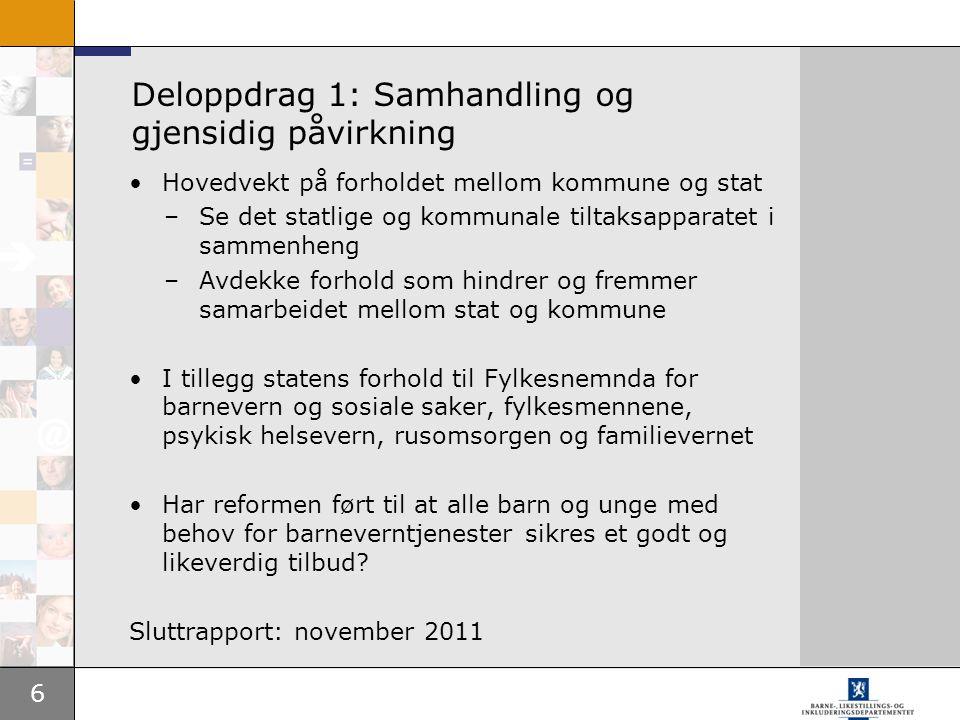 6 Deloppdrag 1: Samhandling og gjensidig påvirkning Hovedvekt på forholdet mellom kommune og stat –Se det statlige og kommunale tiltaksapparatet i sam