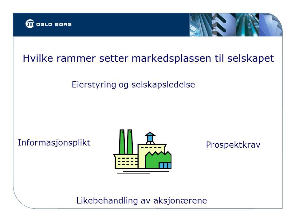 Hvilke rammer setter markedsplassen til selskapet Informasjonsplikt Eierstyring og selskapsledelse Prospektkrav Likebehandling av aksjonærene