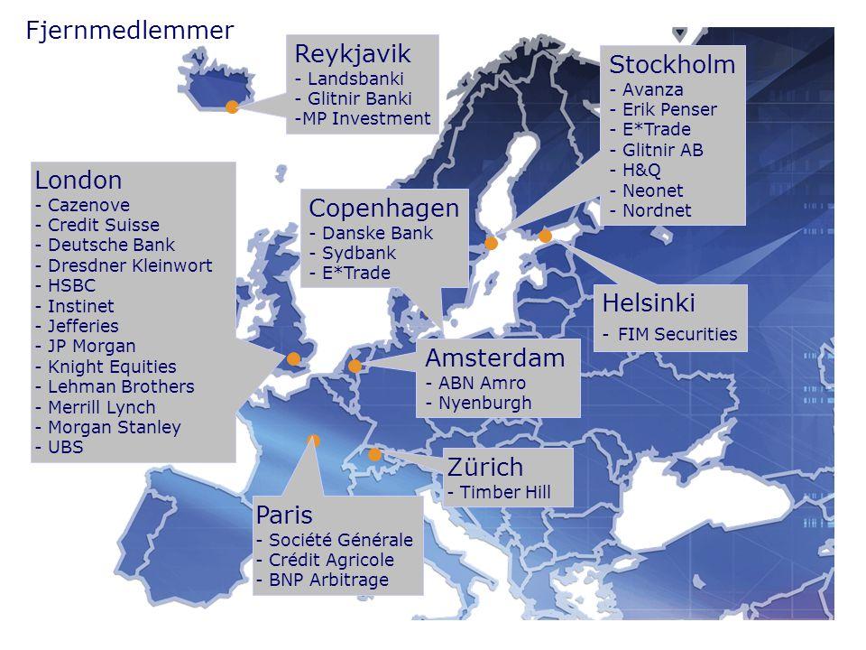 Amsterdam - ABN Amro - Nyenburgh Zürich - Timber Hill Paris - Société Générale - Crédit Agricole - BNP Arbitrage London - Cazenove - Credit Suisse - Deutsche Bank - Dresdner Kleinwort - HSBC - Instinet - Jefferies - JP Morgan - Knight Equities - Lehman Brothers - Merrill Lynch - Morgan Stanley - UBS Stockholm - Avanza - Erik Penser - E*Trade - Glitnir AB - H&Q - Neonet - Nordnet Helsinki - FIM Securities Reykjavik - Landsbanki - Glitnir Banki -MP Investment Copenhagen - Danske Bank - Sydbank - E*Trade Fjernmedlemmer