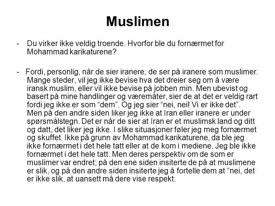 Muslimen -Du virker ikke veldig troende. Hvorfor ble du fornærmet for Mohammad karikaturene.