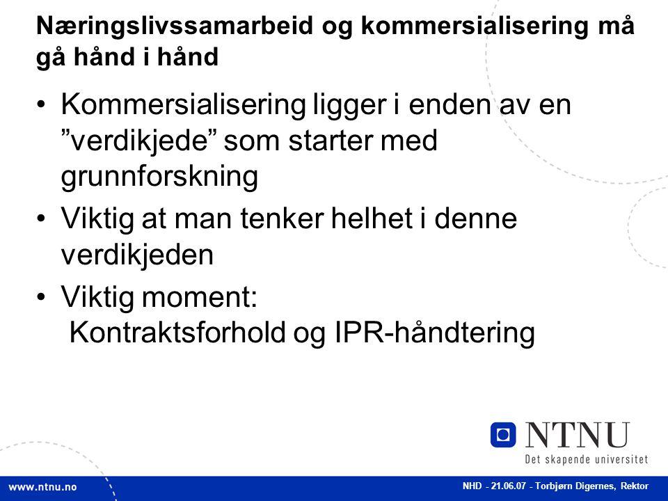 """NHD - 21.06.07 - Torbjørn Digernes, Rektor Næringslivssamarbeid og kommersialisering må gå hånd i hånd Kommersialisering ligger i enden av en """"verdikj"""