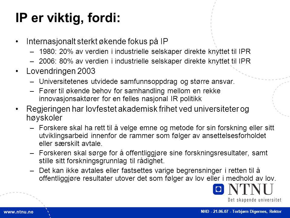 NHD - 21.06.07 - Torbjørn Digernes, Rektor IP er viktig, fordi: Internasjonalt sterkt økende fokus på IP –1980: 20% av verdien i industrielle selskape