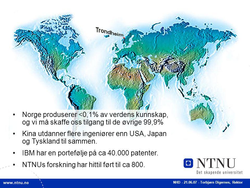 NHD - 21.06.07 - Torbjørn Digernes, Rektor Think globally – Act locally NTNU (sammen med SINTEF og St.Olavs Hospital) opererer i en global kontekst – vi konkurrerer og samarbeider med ledende fagmiljø over hele verden.