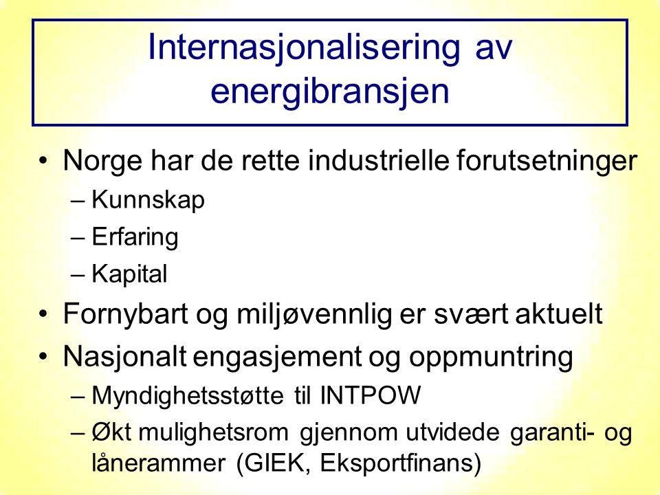Norge har de rette industrielle forutsetninger –Kunnskap –Erfaring –Kapital Fornybart og miljøvennlig er svært aktuelt Nasjonalt engasjement og oppmuntring –Myndighetsstøtte til INTPOW –Økt mulighetsrom gjennom utvidede garanti- og lånerammer (GIEK, Eksportfinans) Internasjonalisering av energibransjen