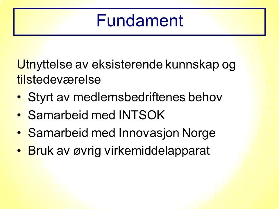 Utnyttelse av eksisterende kunnskap og tilstedeværelse Styrt av medlemsbedriftenes behov Samarbeid med INTSOK Samarbeid med Innovasjon Norge Bruk av øvrig virkemiddelapparat Fundament