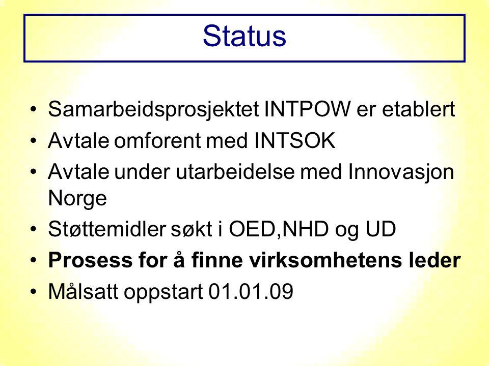 Samarbeidsprosjektet INTPOW er etablert Avtale omforent med INTSOK Avtale under utarbeidelse med Innovasjon Norge Støttemidler søkt i OED,NHD og UD Pr