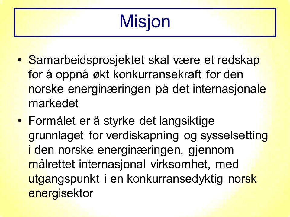 Samarbeidsprosjektet skal være et redskap for å oppnå økt konkurransekraft for den norske energinæringen på det internasjonale markedet Formålet er å styrke det langsiktige grunnlaget for verdiskapning og sysselsetting i den norske energinæringen, gjennom målrettet internasjonal virksomhet, med utgangspunkt i en konkurransedyktig norsk energisektor Misjon