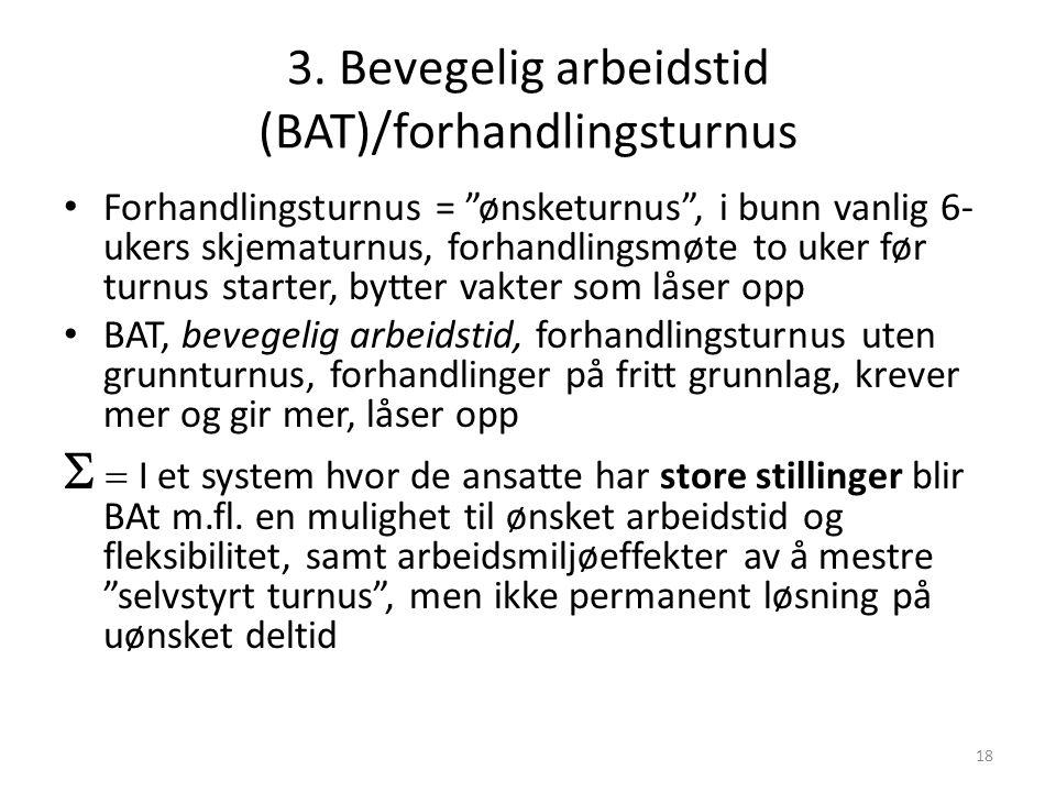 """18 3. Bevegelig arbeidstid (BAT)/forhandlingsturnus Forhandlingsturnus = """"ønsketurnus"""", i bunn vanlig 6- ukers skjematurnus, forhandlingsmøte to uker"""