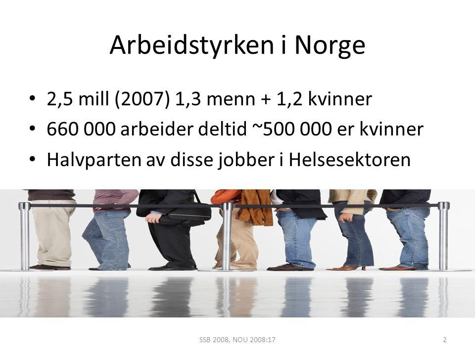 Arbeidstyrken i Norge 2,5 mill (2007) 1,3 menn + 1,2 kvinner 660 000 arbeider deltid ~500 000 er kvinner Halvparten av disse jobber i Helsesektoren 2S