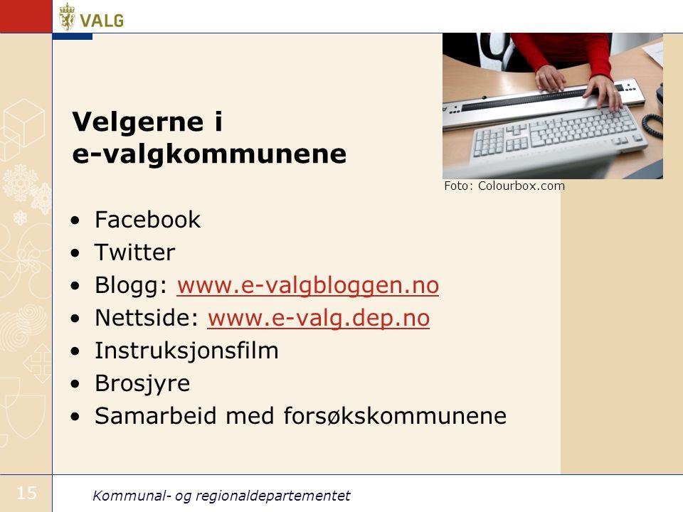 Kommunal- og regionaldepartementet 15 Facebook Twitter Blogg: www.e-valgbloggen.nowww.e-valgbloggen.no Nettside: www.e-valg.dep.nowww.e-valg.dep.no Instruksjonsfilm Brosjyre Samarbeid med forsøkskommunene Velgerne i e-valgkommunene Foto: Colourbox.com