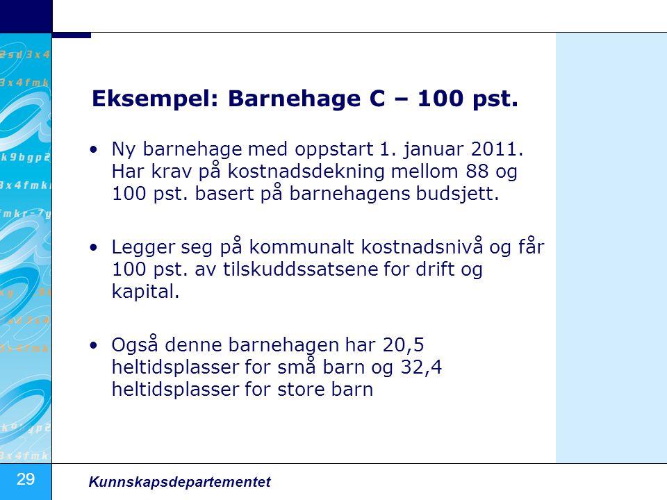 29 Kunnskapsdepartementet Eksempel: Barnehage C – 100 pst.