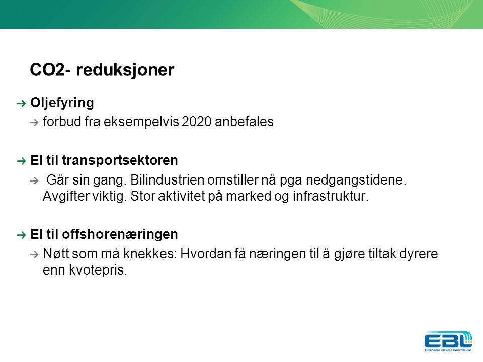 CO2- reduksjoner Oljefyring forbud fra eksempelvis 2020 anbefales El til transportsektoren Går sin gang.