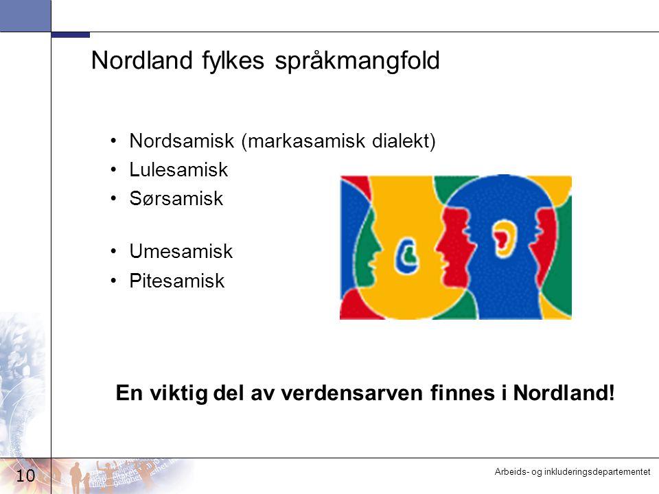 10 Arbeids- og inkluderingsdepartementet Nordland fylkes språkmangfold Nordsamisk (markasamisk dialekt) Lulesamisk Sørsamisk Umesamisk Pitesamisk En v