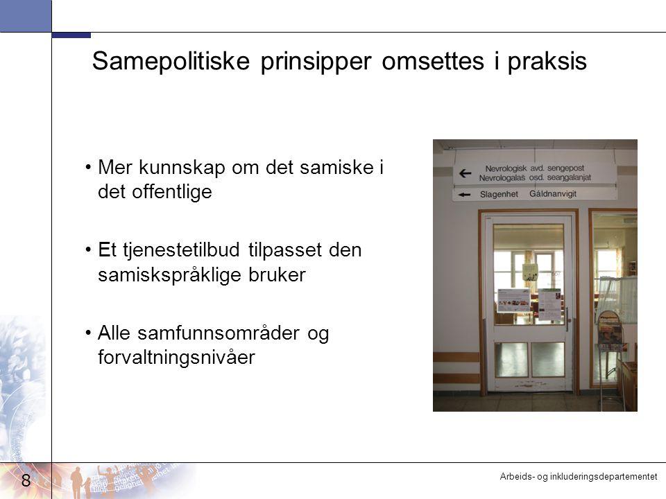 8 Arbeids- og inkluderingsdepartementet Samepolitiske prinsipper omsettes i praksis Mer kunnskap om det samiske i det offentlige Et tjenestetilbud tilpasset den samiskspråklige bruker Alle samfunnsområder og forvaltningsnivåer