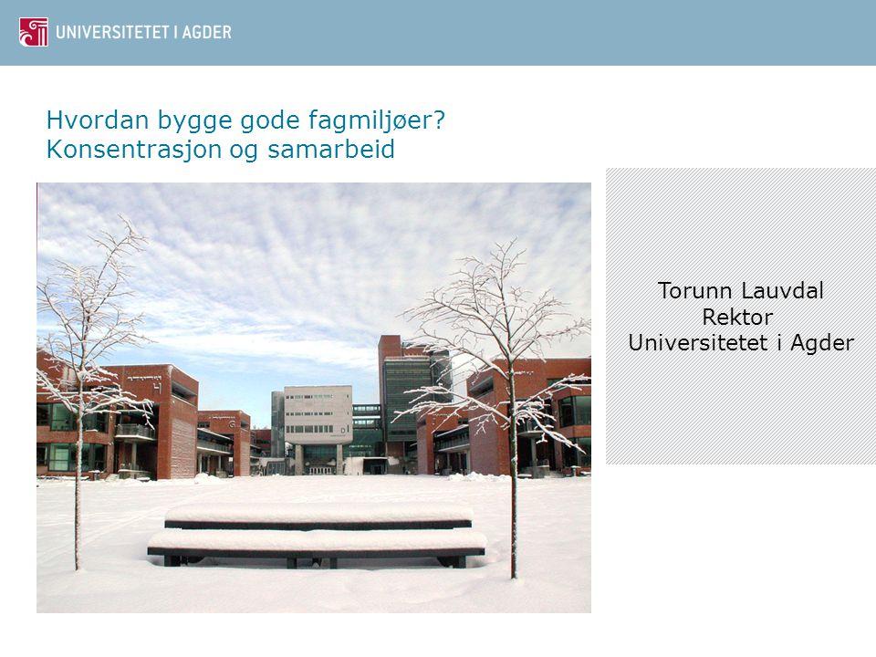 Hvordan bygge gode fagmiljøer? Konsentrasjon og samarbeid Torunn Lauvdal Rektor Universitetet i Agder