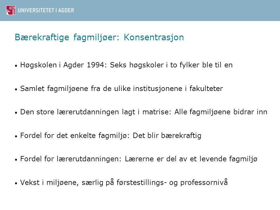 Bærekraftige fagmiljøer: Konsentrasjon Høgskolen i Agder 1994: Seks høgskoler i to fylker ble til en Samlet fagmiljøene fra de ulike institusjonene i