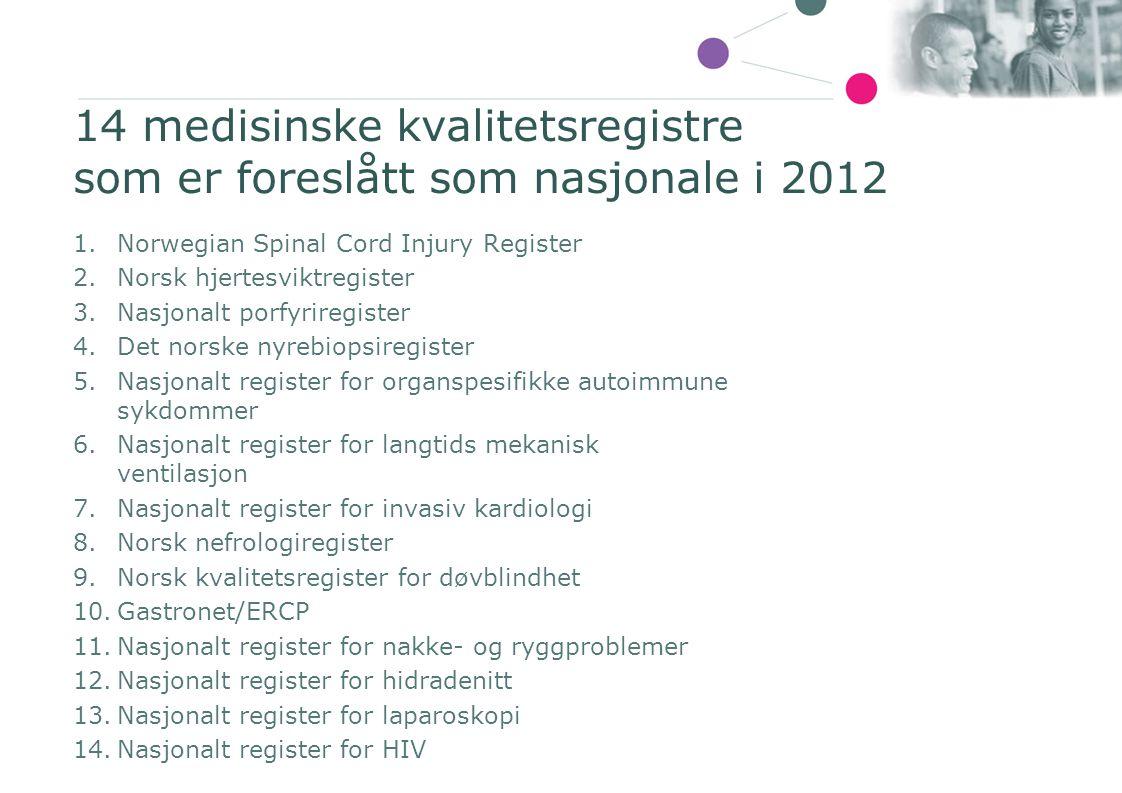 14 medisinske kvalitetsregistre som er foreslått som nasjonale i 2012 1.Norwegian Spinal Cord Injury Register 2.Norsk hjertesviktregister 3.Nasjonalt