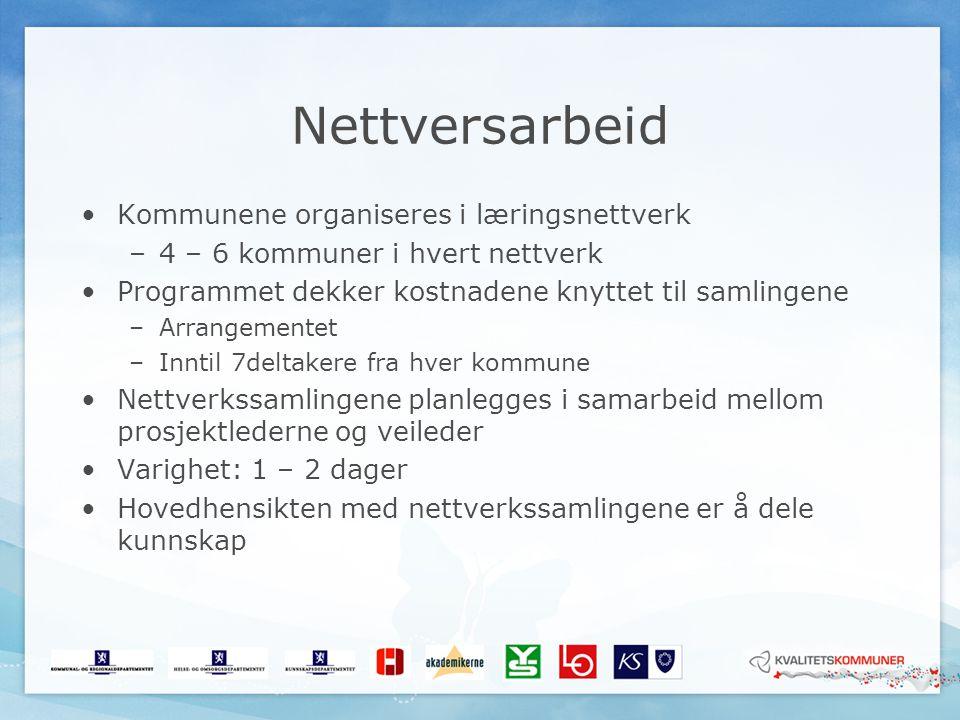 Nettversarbeid Kommunene organiseres i læringsnettverk –4 – 6 kommuner i hvert nettverk Programmet dekker kostnadene knyttet til samlingene –Arrangeme