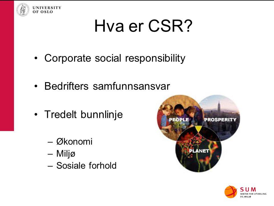 Hva er CSR? Corporate social responsibility Bedrifters samfunnsansvar Tredelt bunnlinje –Økonomi –Miljø –Sosiale forhold