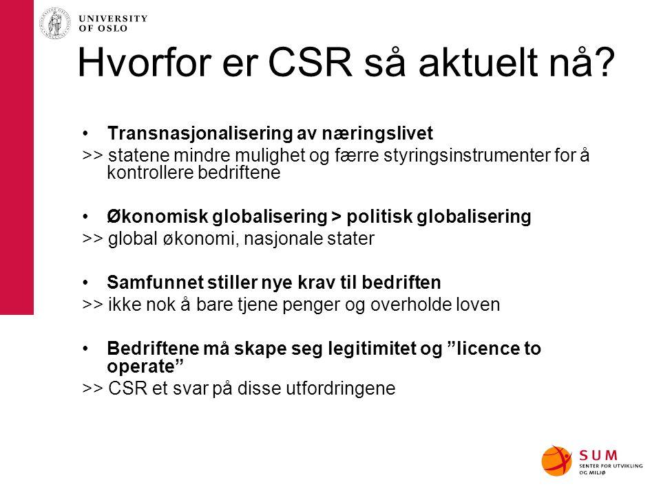 Hvorfor er CSR så aktuelt nå? Transnasjonalisering av næringslivet >> statene mindre mulighet og færre styringsinstrumenter for å kontrollere bedrifte