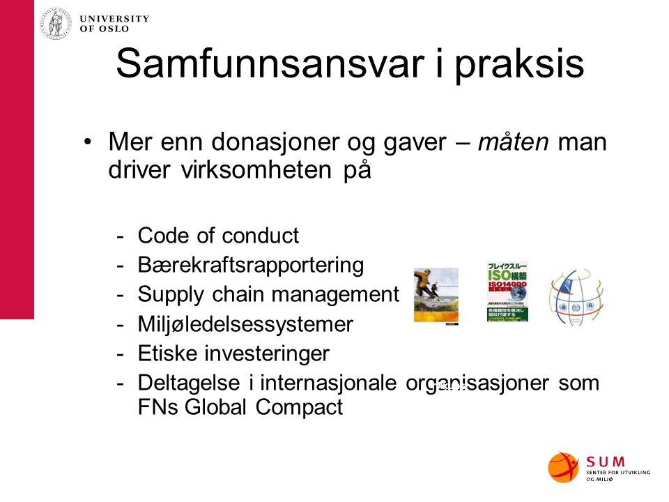 CSR i Skandinavia Skandinaviske bedrifter er i verdenseliten –Overrepresentert på Dow Jones og FTSE indekser for bærekraftige selskap –Blant topp 10 på ISO14000 –Scorer i topp på indekser for miljø, HMS, korrupsjon mm.