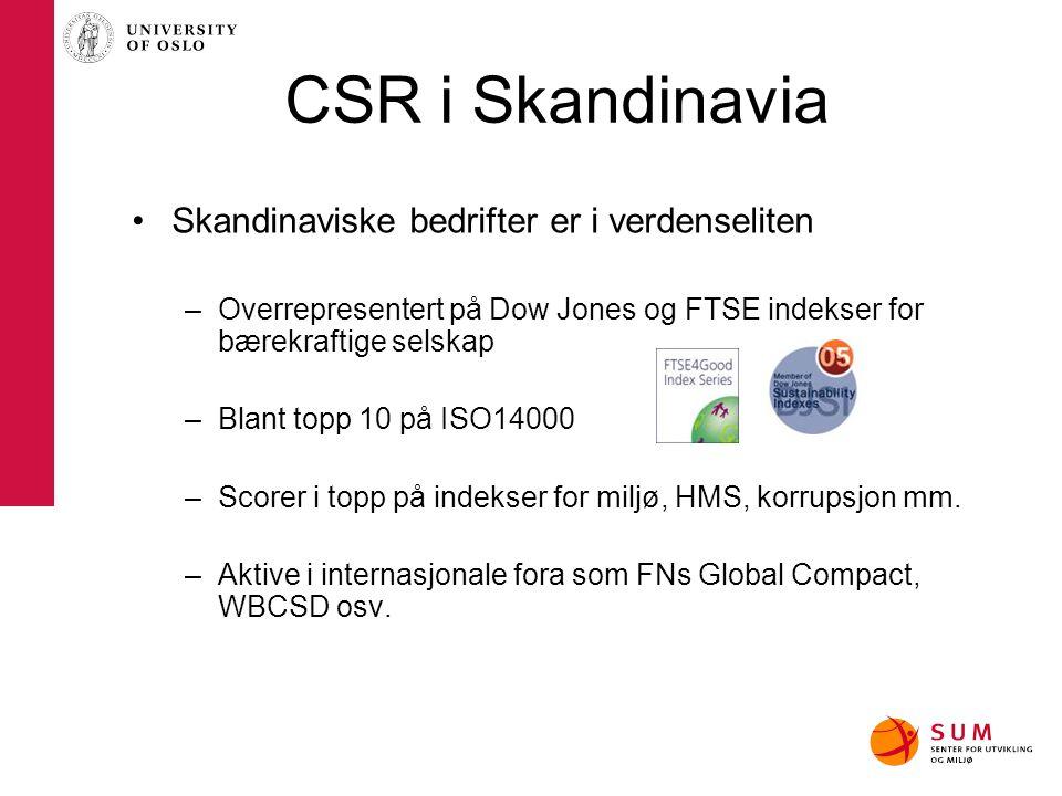 CSR i Skandinavia Skandinaviske bedrifter er i verdenseliten –Overrepresentert på Dow Jones og FTSE indekser for bærekraftige selskap –Blant topp 10 p