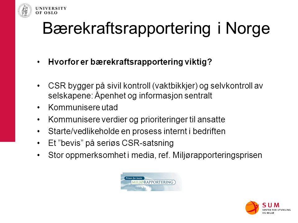 Bærekraftsrapportering i Norge Hvorfor er bærekraftsrapportering viktig? CSR bygger på sivil kontroll (vaktbikkjer) og selvkontroll av selskapene: Åpe