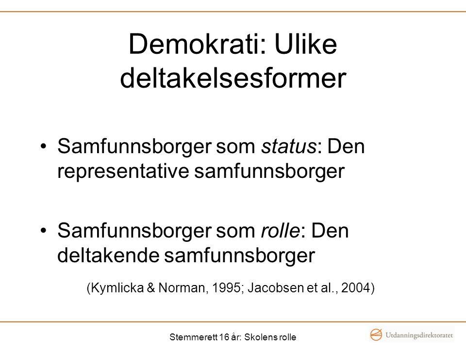 Demokrati: Ulike deltakelsesformer Samfunnsborger som status: Den representative samfunnsborger Samfunnsborger som rolle: Den deltakende samfunnsborger (Kymlicka & Norman, 1995; Jacobsen et al., 2004) Stemmerett 16 år: Skolens rolle